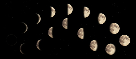 Composite image of the phases of the moon.