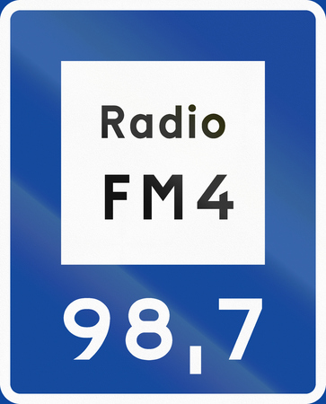 radio station: Road sign used in Sweden - Radio station for road and traffic information. Stock Photo