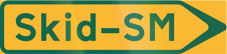 skid: Road sign used in Sweden - Sign to temporary event: Ski championship.