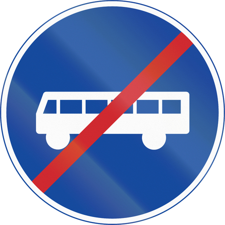 mopeds: Road sign used in Sweden - End of lane reserved for public transport (and cycles and mopeds Class II). Stock Photo
