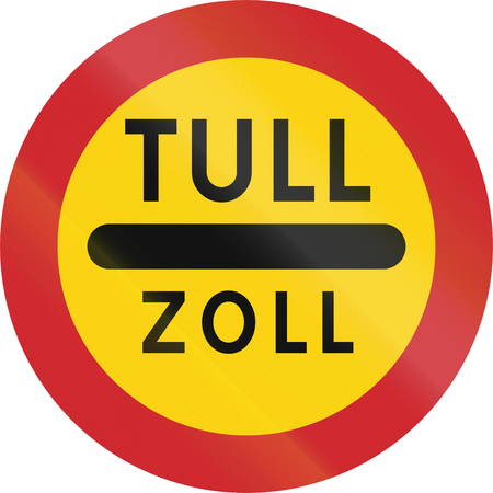 toll: Road sign used in Sweden - Toll in Swedish and German.