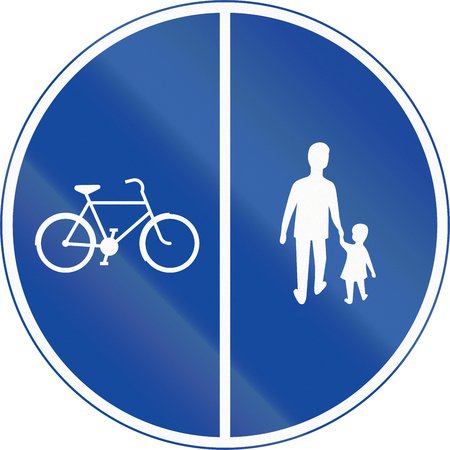 pedestrians: Road sign used in Sweden - Compulsory track for pedestrians, cyclists and moped drivers. Dual track.