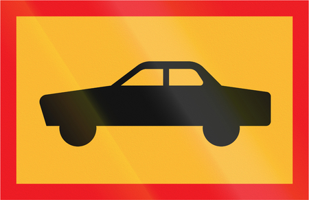 car plate: Road sign used in Sweden - Symbol plate for specified vehicle or road user category (car). Stock Photo