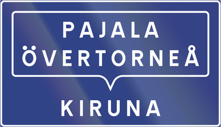 kiruna: Road sign used in Sweden - Grouped destinations (i.e. For Pajala and Overtornea, follow signs for Kiruna).