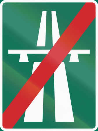 two lane highway: Road sign used in Sweden - End of motorway.
