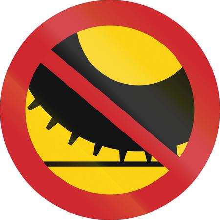 Verkeersteken gebruikt in Zweden - Geen auto's met spijkerbanden.
