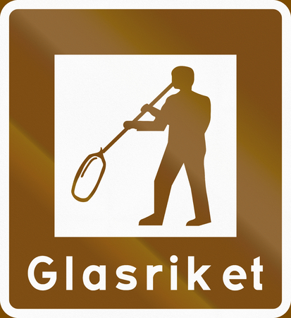 Road sign used in Sweden - Tourist attraction area: The glass empire.