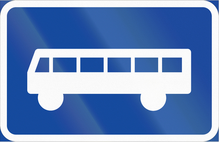 category: Road sign used in Sweden - Symbol plate for specified vehicle or road user category (bus).