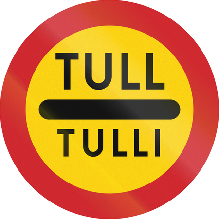toll: Road sign used in Sweden - Toll in Swedish and Finnish.