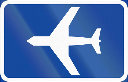 airfield: Road sign used in Sweden - Airfield. Stock Photo