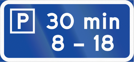 permitted: Road sign used in Sweden - Parking permitted for specified period between times shown. Stock Photo