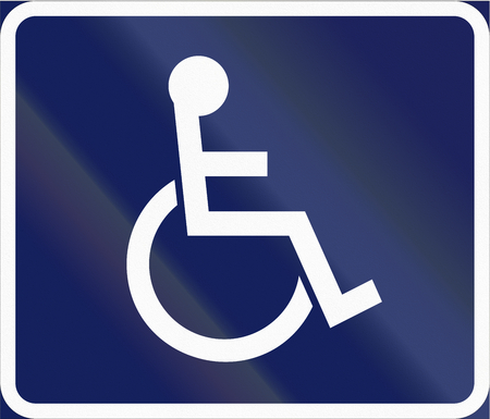 physically: Road sign used in Sweden - Disabled persons. Stock Photo