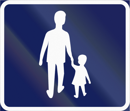 pedestrians: Road sign used in Sweden - Recommended route for pedestrians. Stock Photo