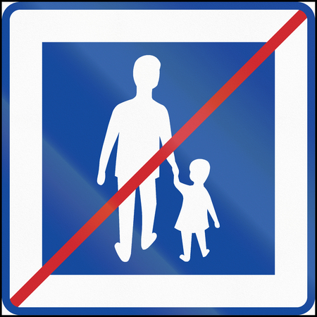 end of the road: Road sign used in Sweden - End of pedestrian area. Stock Photo