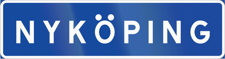 Road sign used in Sweden - Place indication sign. Stock Photo