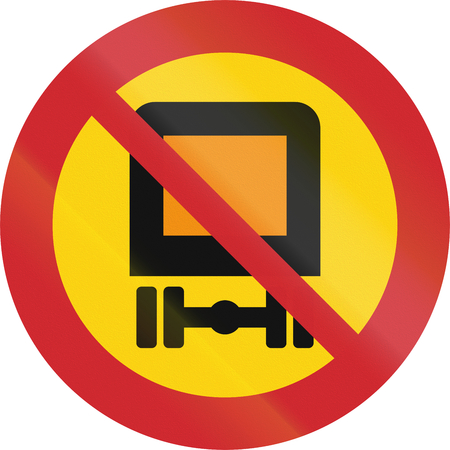 dangerous goods: Road sign used in Sweden - No vehicles carrying dangerous goods. Stock Photo