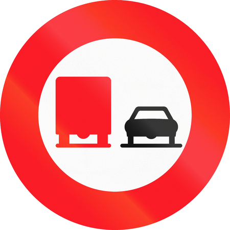 no overtaking: Road sign used in Switzerland - No overtaking by lorries.
