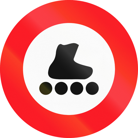 rollerblading: Road sign used in Switzerland - No rollerblading.