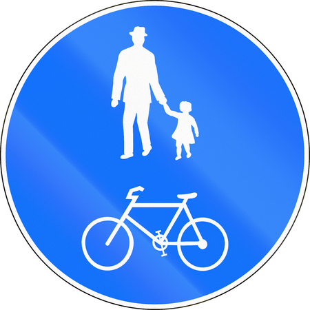 use regulations: Road sign used in Switzerland - Cycle and pedestrian route.