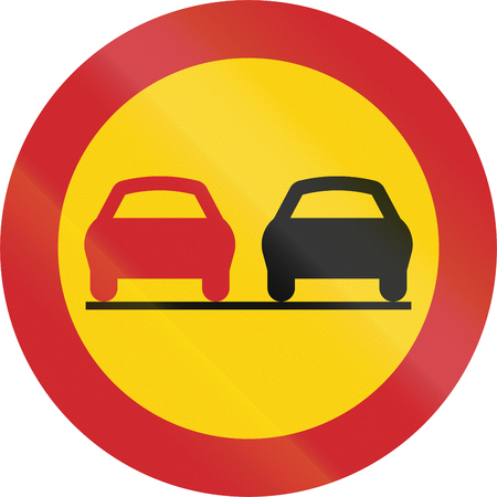 overtaking: Road sign used in Sweden - No overtaking. Stock Photo