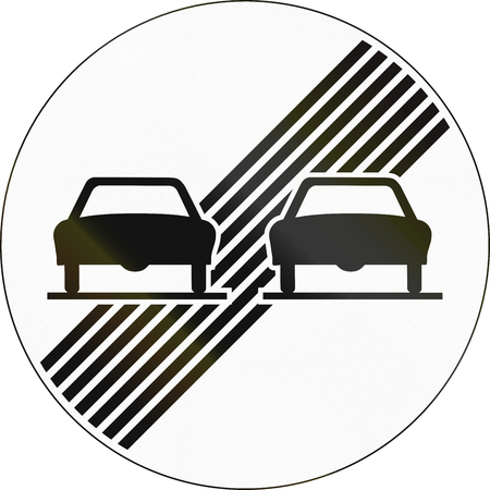 no overtaking: Road sign used in Switzerland - End of no overtaking restriction.