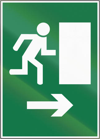 exit sign: Road sign used in Switzerland - Exit sign. Stock Photo
