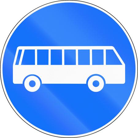lane: Road sign used in Switzerland - Bus lane. Stock Photo