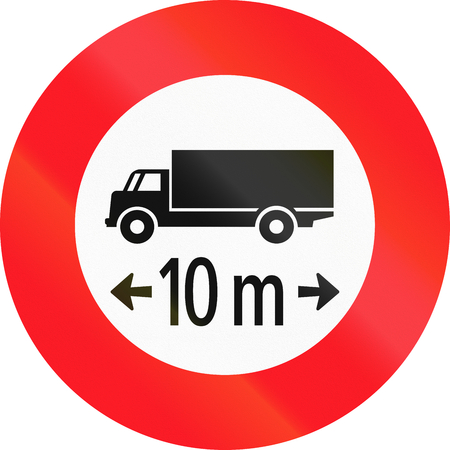 length: Road sign used in Switzerland - Maximum length. Stock Photo