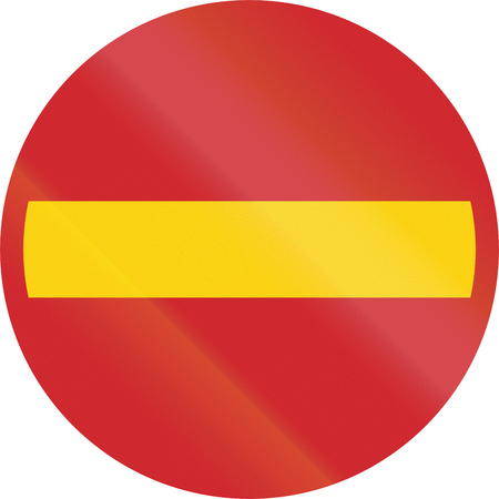 no entry: Road sign used in Sweden - No entry.