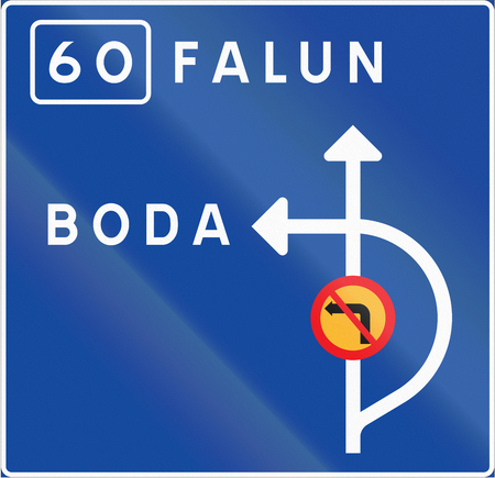 Road sign used in Sweden - Advance direction sign diagrammatic indicating prohibition of left turning. Stock Photo