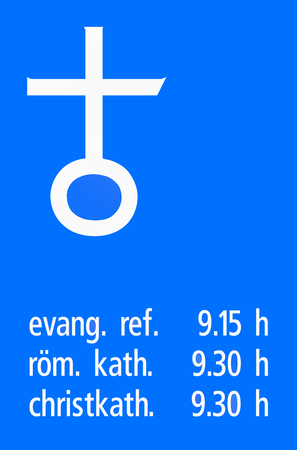 denomination: Road sign used in Switzerland - Church services with times for each religious denomination (Protestant, Roman Catholic, Christian Catholic).