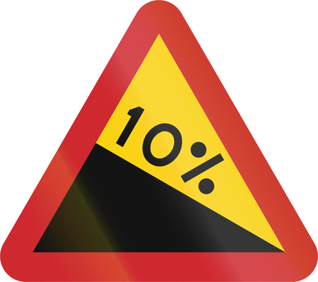 steep: Road sign used in Sweden - Steep hill downwards. Stock Photo