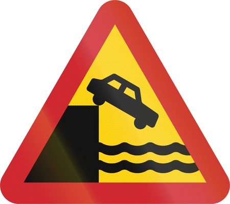 berth: Road sign used in Sweden - Quayside or ferry berth. Stock Photo