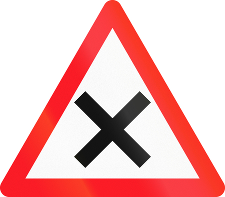 crossroads: Road sign used in Switzerland - Crossroads with right-of-way from the right.