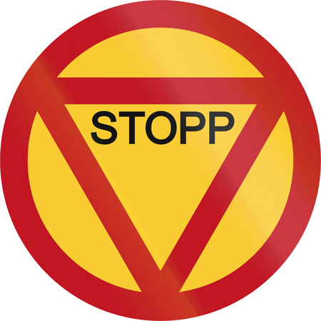 Obsolete Road sign in Sweden - Stop.