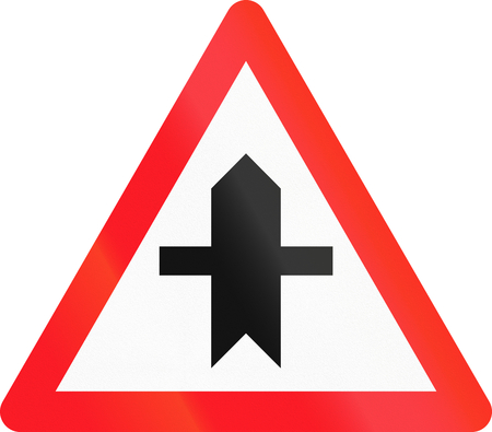crossroad: Road sign used in Switzerland - Crossroad with a non-priority road.
