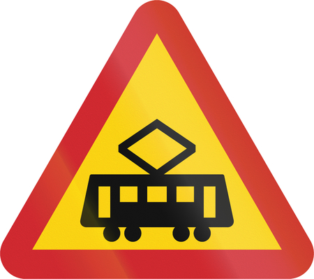 tramway: Road sign used in Sweden - Intersection with tramway line. Stock Photo