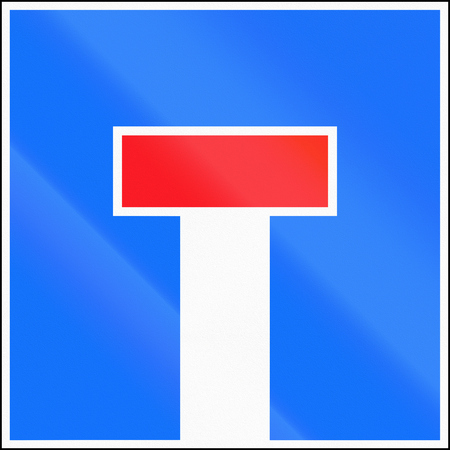 culdesac: Road sign used in Switzerland - Dead end.