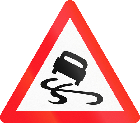 skidmarks: Warning sign used in Switzerland - slippery road.