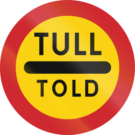 swedish: Road sign used in Sweden - Toll in Swedish and Danish.