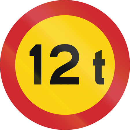 tonnes: Road sign used in Sweden - No vehicles exceeding 12 tonnes weight.