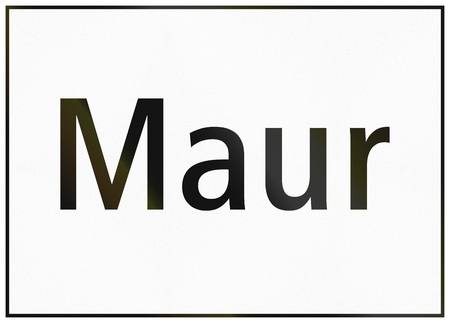 informational: Road sign used in Switzerland - Town name sign on minor road. Stock Photo