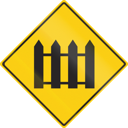 Warning road sign in Thailand - Guarded railroad crossing.