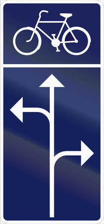 manoeuvre: Road sign used in Sweden - mandatory turning manoeuvre for pedal cycles and mopeds.