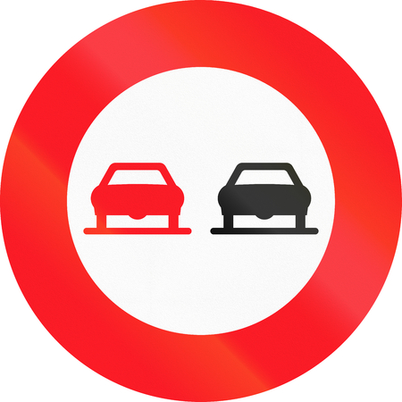 no overtaking: Road sign used in Switzerland - No overtaking. Stock Photo
