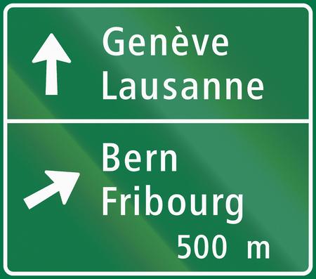 motorway: Road sign used in Switzerland - Motorway junction sign.