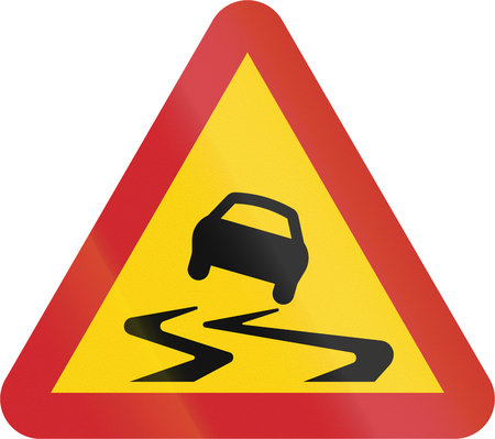 slippery warning sign: Road sign used in Sweden - Slippery road.