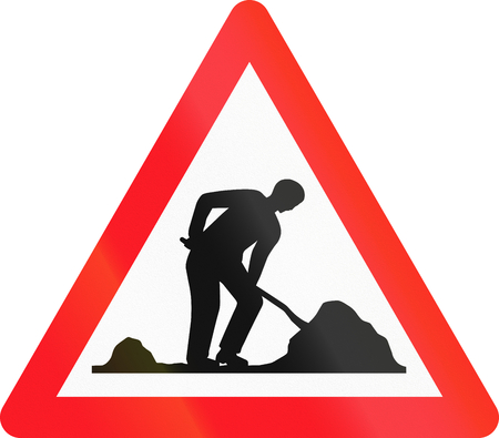 road works: Warning sign used in Switzerland - road works. Stock Photo