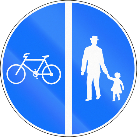 Road sign used in Switzerland - Segregated cycle and pedestrian route.