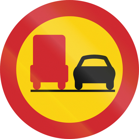 no overtaking: Road sign used in Sweden - No overtaking by lorries.